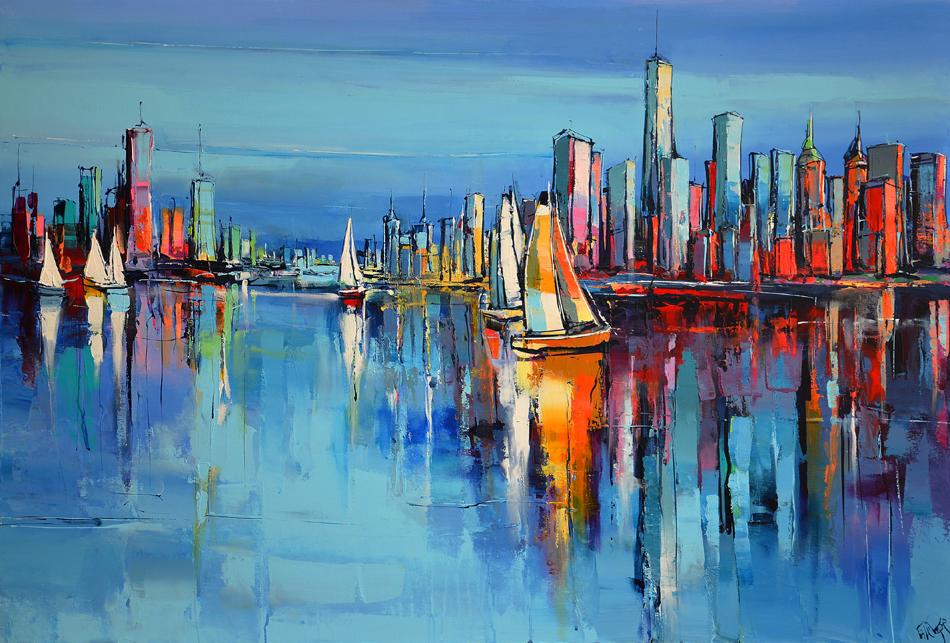 Régate sur New-York, par le peintre Eric Le Pape