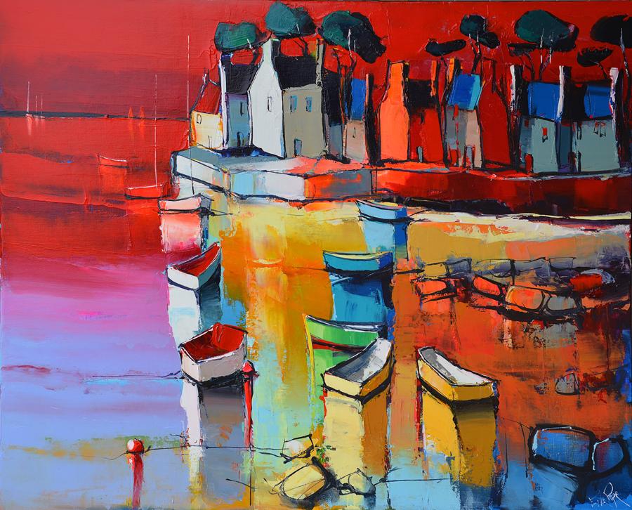 Peinture d'Eric Le Pape, la côte rouge