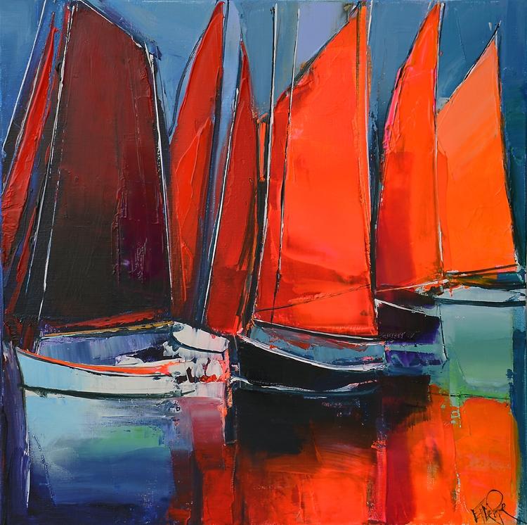 Les voiles rouges par Eric Le Pape, peintre