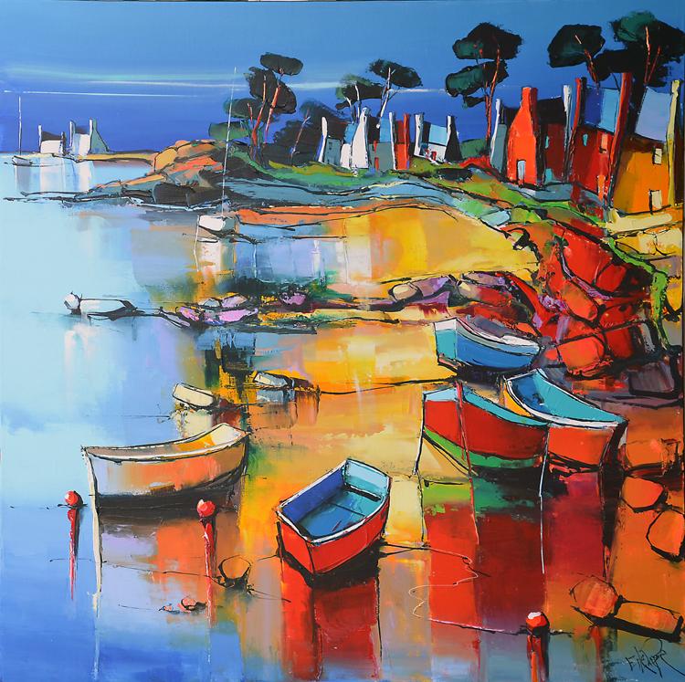 Peinture d'Eric Le Pape, la côte rocheuse