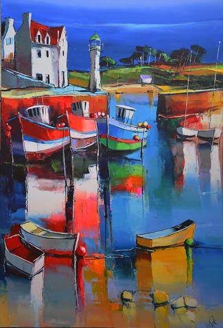 Le quai de Sauzon, peinture d'Eric Le Pape