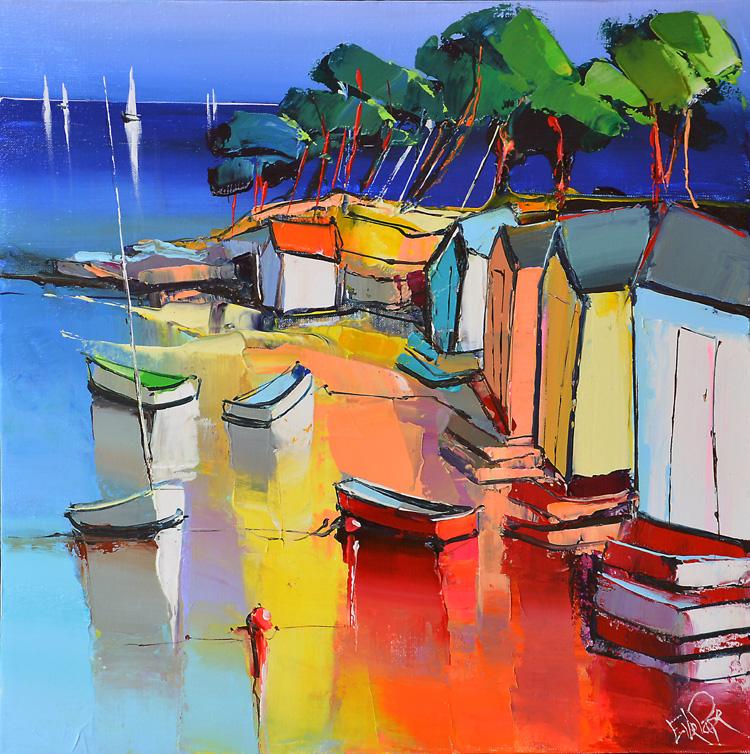 Peinture d'Eric Le Pape, la barque rouge