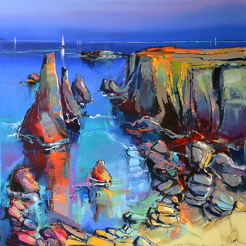 Peinture d'Eric Le Pape, les aiguilles de Port Coton