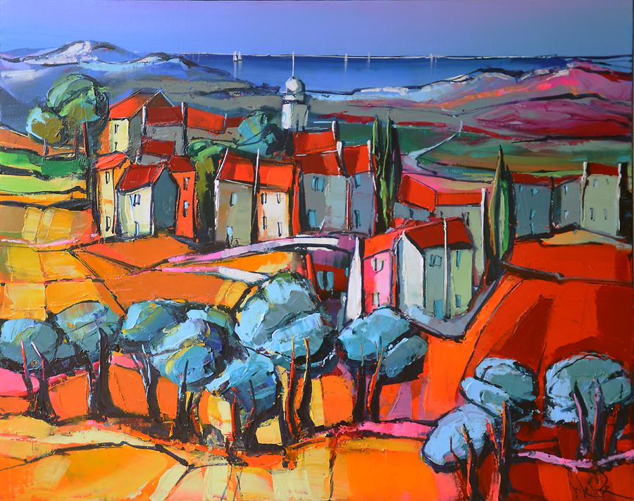 Peinture d'Eric Le Pape, le chemin des oliviers