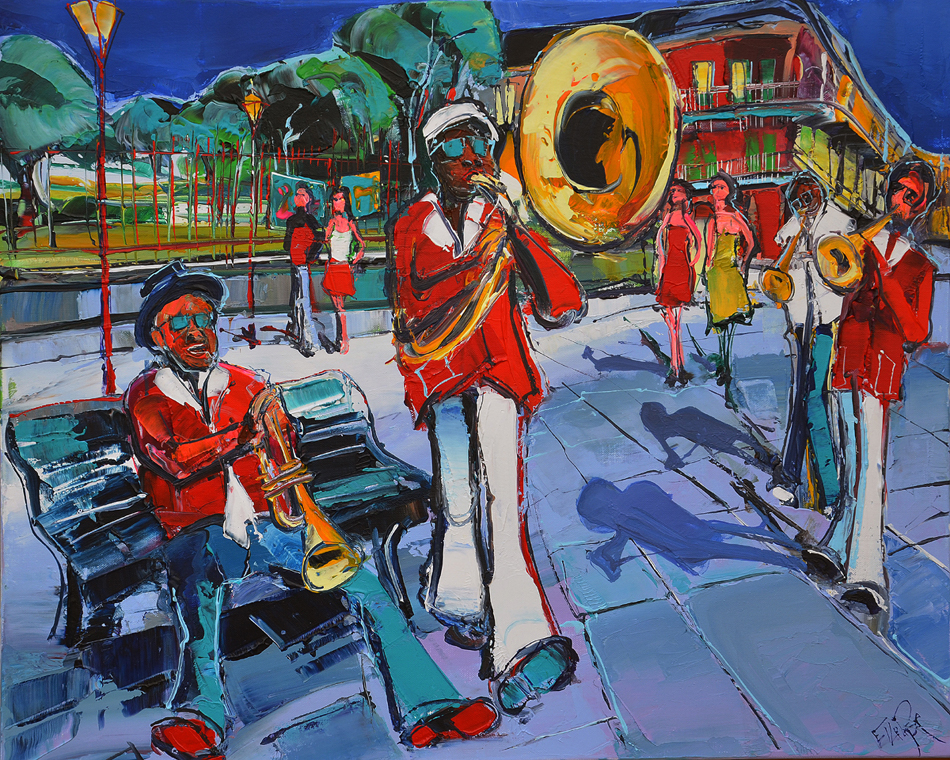 Peinture d'Eric Le Pape, concert sur la place