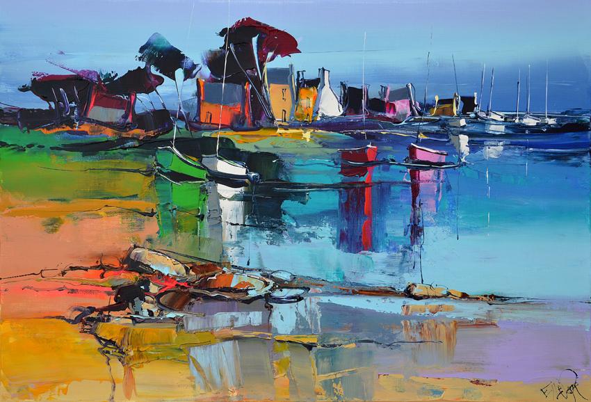 Peinture d'Eric Le Pape, la barque verte