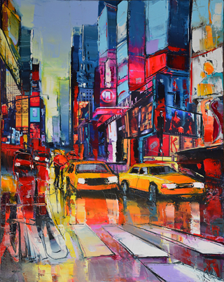 Trafic à New-York par Eric Le Pape, peintre