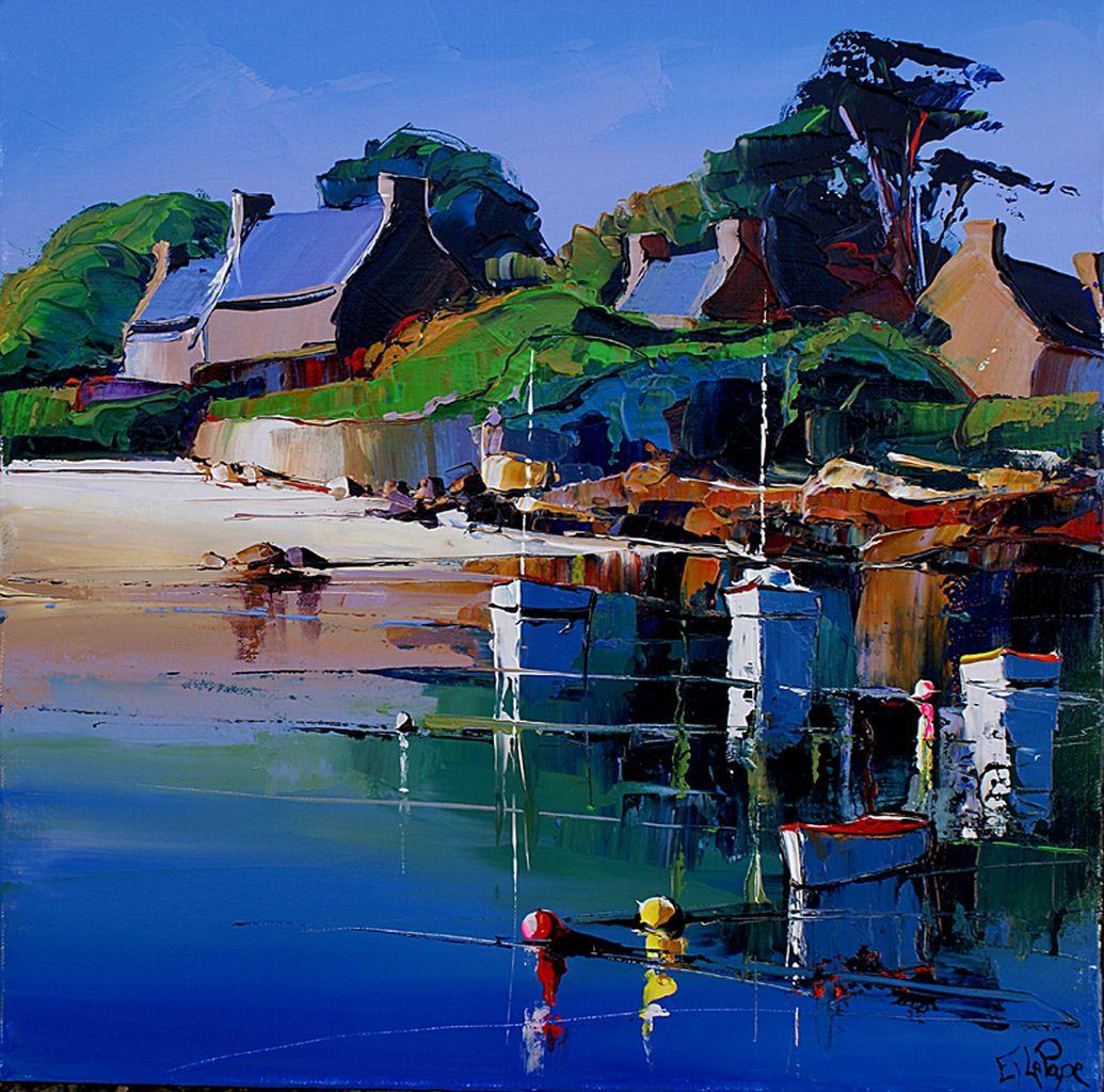 Peinture d'Eric Le Pape, la plage à Bréhat